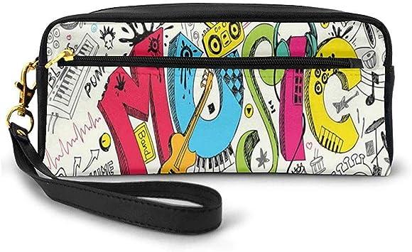 Pop Art Destacado Estilo Doodle Fondo Musical con Instrumentos Ilustración de Arte de Sonido Pequeña Bolsa de Maquillaje Estuche de lápices 20cm * 5.5cm * 8.5cm: Amazon.es: Equipaje