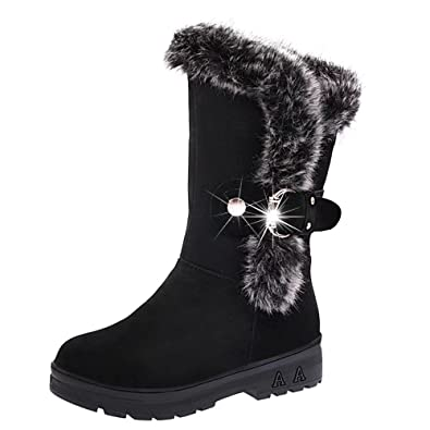 Women Winter Slip-On Soft Round Head Faux Flat Fur Ankle Mid-Calf Snow Boots