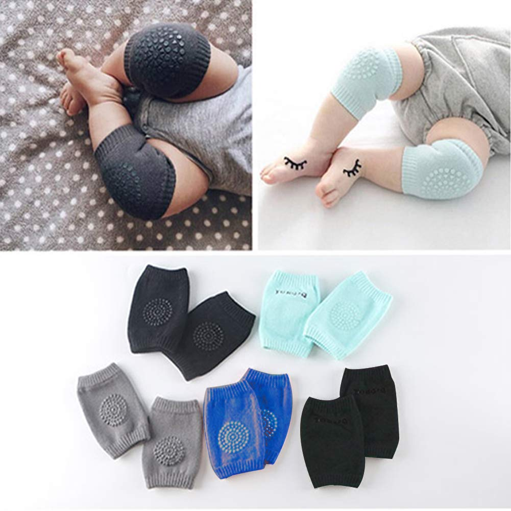 Baby Knee Pads For Crawling Unisex Cotton Toddlers Anti-Slip Leg Warmers 5 Pairs by BASH