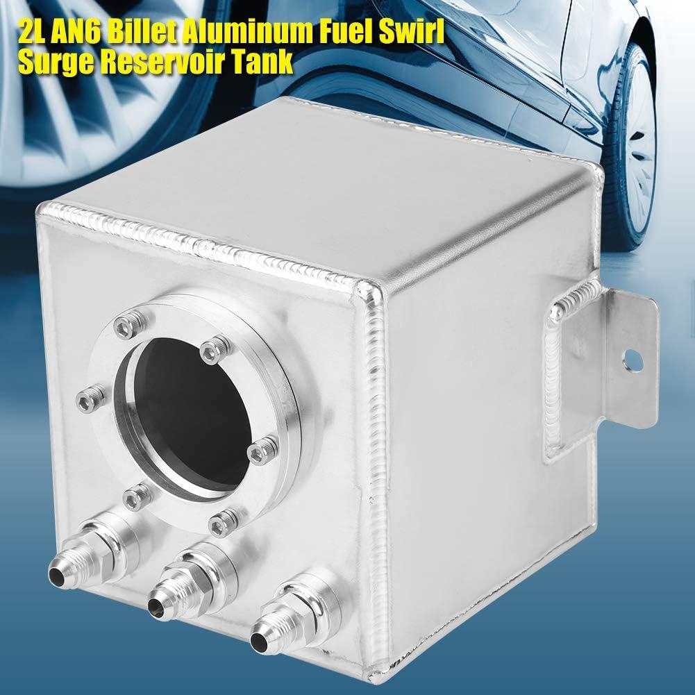 KIMISS 2L Serbatoio Silver AN6 Billet Alluminio Swirl Surge Serbatoio Serbatoio con raccordi AN6 Universale