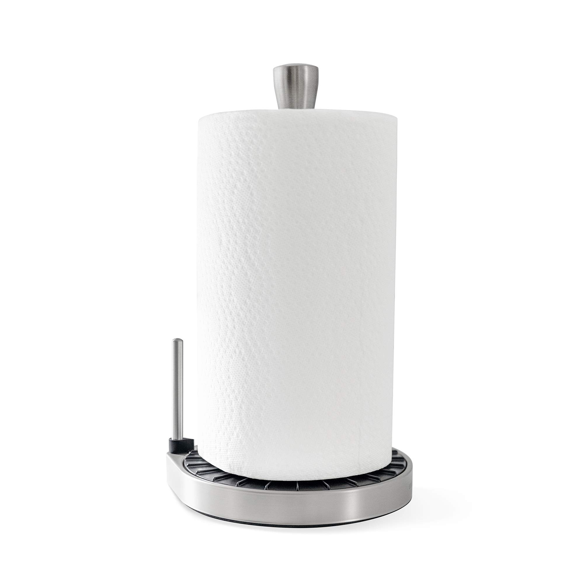 Umbra Spin Click N Tear Paper Towel Holder Stand for Countertop - One-Handed Tear, Nickel/Black