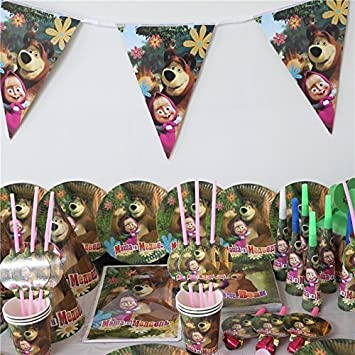 95pcs Set Masha And Bear Birthday Party Decoration Kids Girl Supplies Cup Plate Flag