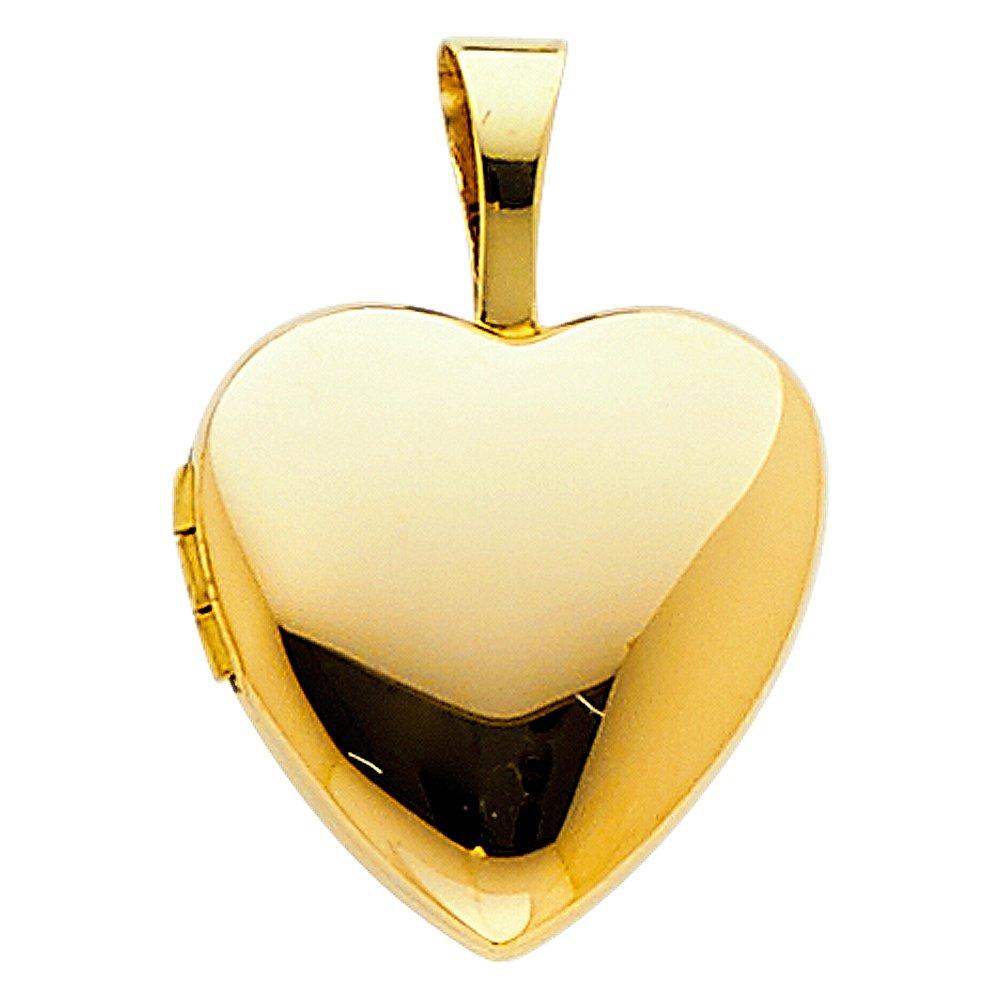 14k Yellow Gold Heart Locket Pendant Charm