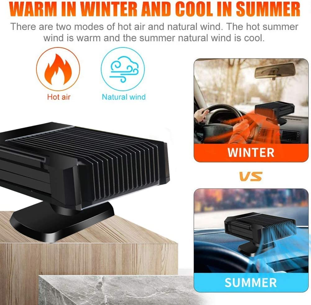 Low Noise Upright Car Heater Car Air Fan Windscreen De-Icer Car Heater Portable 30 Seconds Fast Heating Quickly Defroster Defogger 2 in 1 Powerful Car Heater Cooling Fan