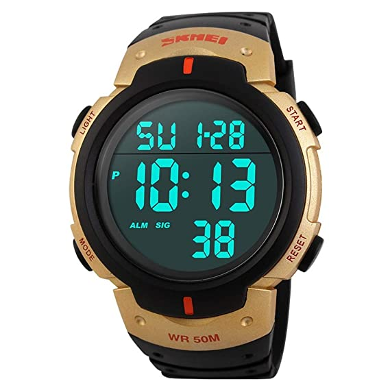 FeiWen Relojes de Hombre Deportivo Digitales Outdoor Militar Tácticas 50M Impermeable Multifuncional LED Electrónica Plástico Bisel con Goma Correa Grande ...