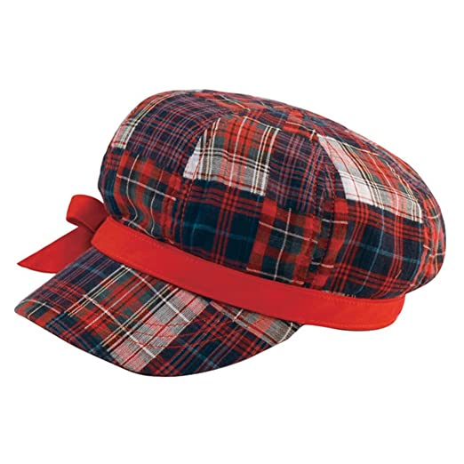 41517285d72 MG Womens Cotton Plaid Newsboy Cap w  Bow (Red   Navy) at Amazon ...