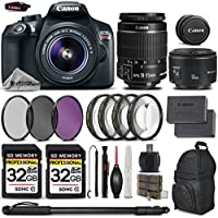 Canon Rebel T6 Camera + Canon EF-S 18-55mm f/3.5-5.6 IS II Lens + Canon EF 50mm f 1.8 II Lens + 2 Of 32GB Class 10 SDHC Flash Memory Card - All Original Accessories Included - International Version