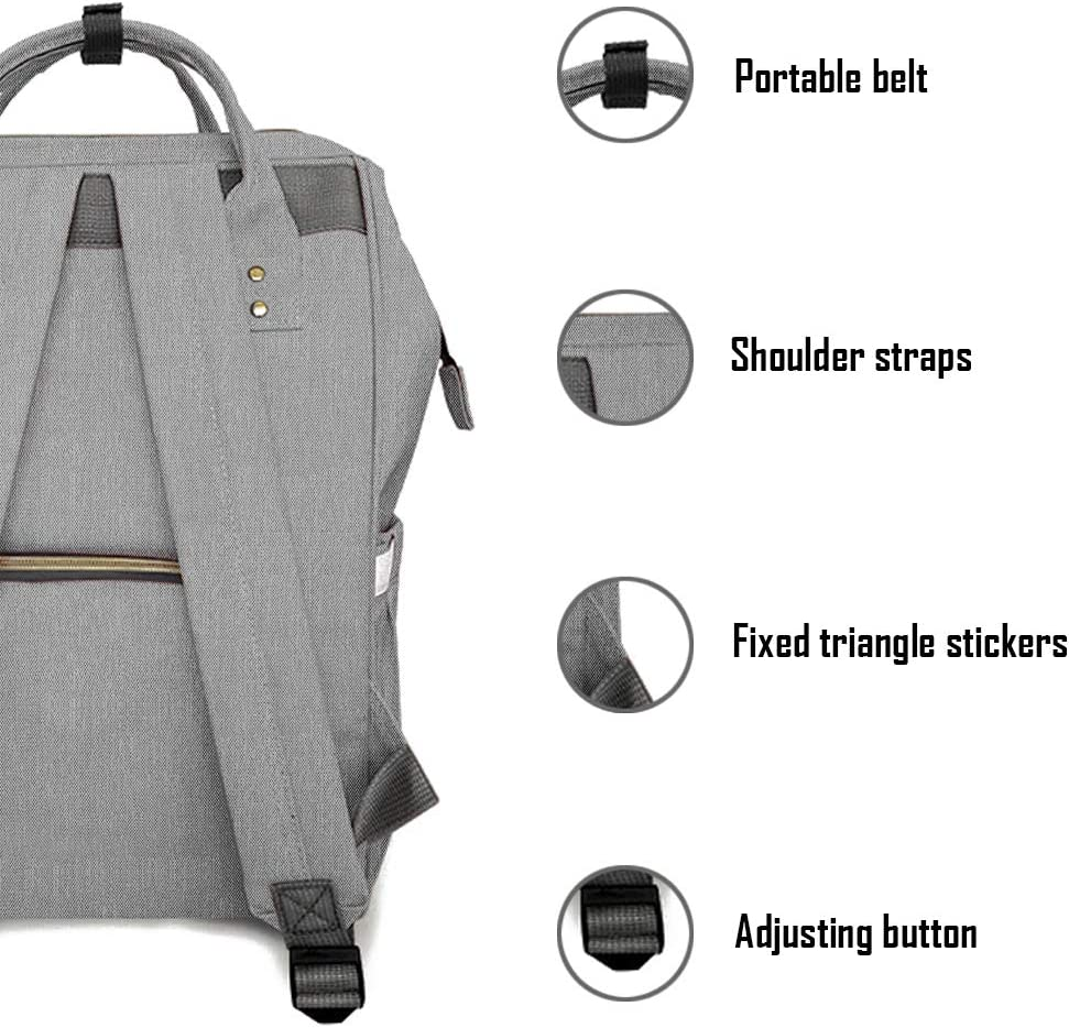 Multi-Function Travel Backpack Nappy Bags Diaper Backpack Fashion Mummy Nursing Bag Large Capacity Baby Bag Roomy Waterproof for Baby Care Black Grey Stylish and Durable by QpenguinBabies