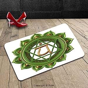 Custom se puede lavar a máquina Felpudo para el chakra Decor circular Oriental tierra Core forma antigua equilibrio y armonía en Cosmos tema verde oro interior/al aire libre Felpudo alfombra alfombra alfombra