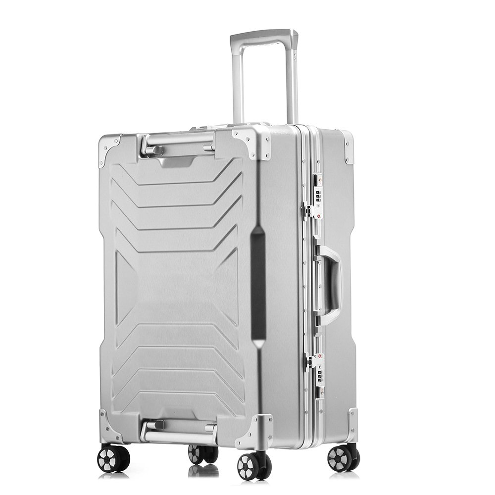 Aluminum frame and PC shell Anti-scratch trolley luggage 20'' carry on 24'' 29'' checked luggage suitcase (20 inch, Silver) by sindermore