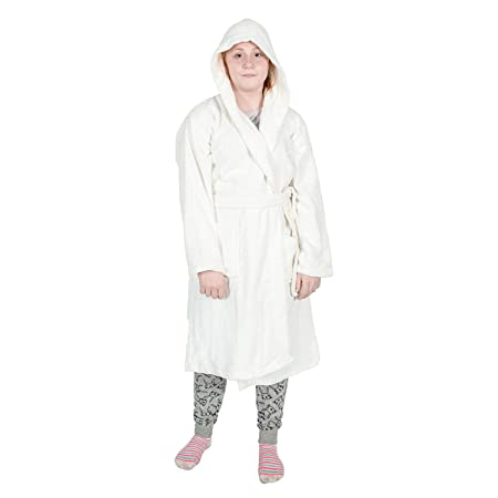 Homescapes Kids White Dressing Gown 100 Egyptian Cotton Hooded