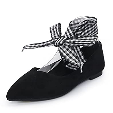 b357a03b70 VFDB Women s Pointy Toe Ankle Strap Wrap Ballet Shoes Faux Suede Flat Shoes  Black US 3.5
