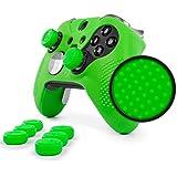 ElitePro Grip STUDDED Skin Set for Xbox One ELITE Controller by Foamy Lizard ® Sweat Free Silicone Skin w/ Raised Anti-slip Studs PLUS set of 8 QSX-Elite Thumb Grips (SKIN + QSX-E GRIPS, GREEN)