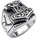 KONOV Massiness Vintage Stainless Steel Band Myth Thor's Hammer Ring