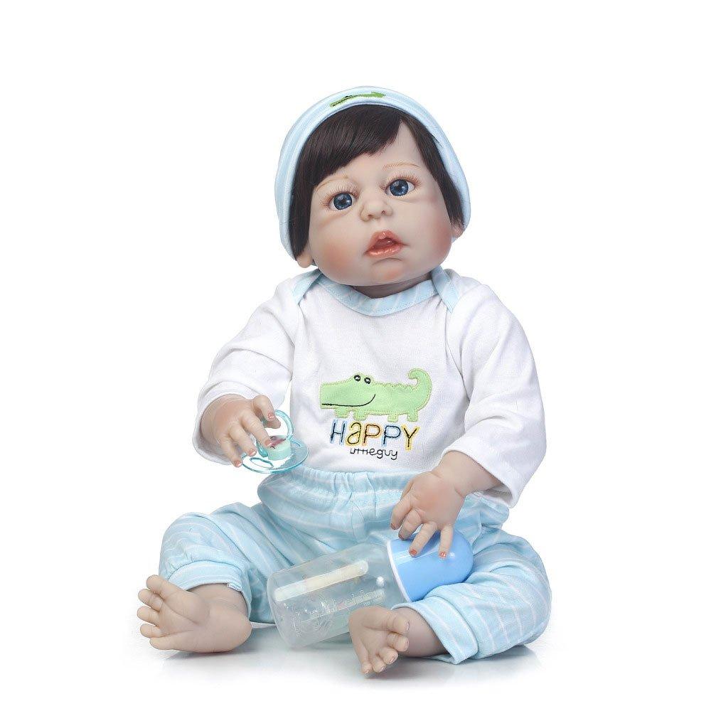 QXMEI Simulations Wiedergeburt Puppen Silikon Nettes Baby Kann In Begleitenden Spielzeug Kinder Kreatives Geschenk 56CM Wässern