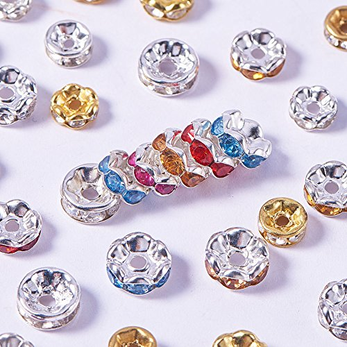NBEADS 500pcs 5mm-8mm Mixed Color Brass Czech Crystal Round Wavy Rondelle Spacer Beads Charms for Jewelry Making ()
