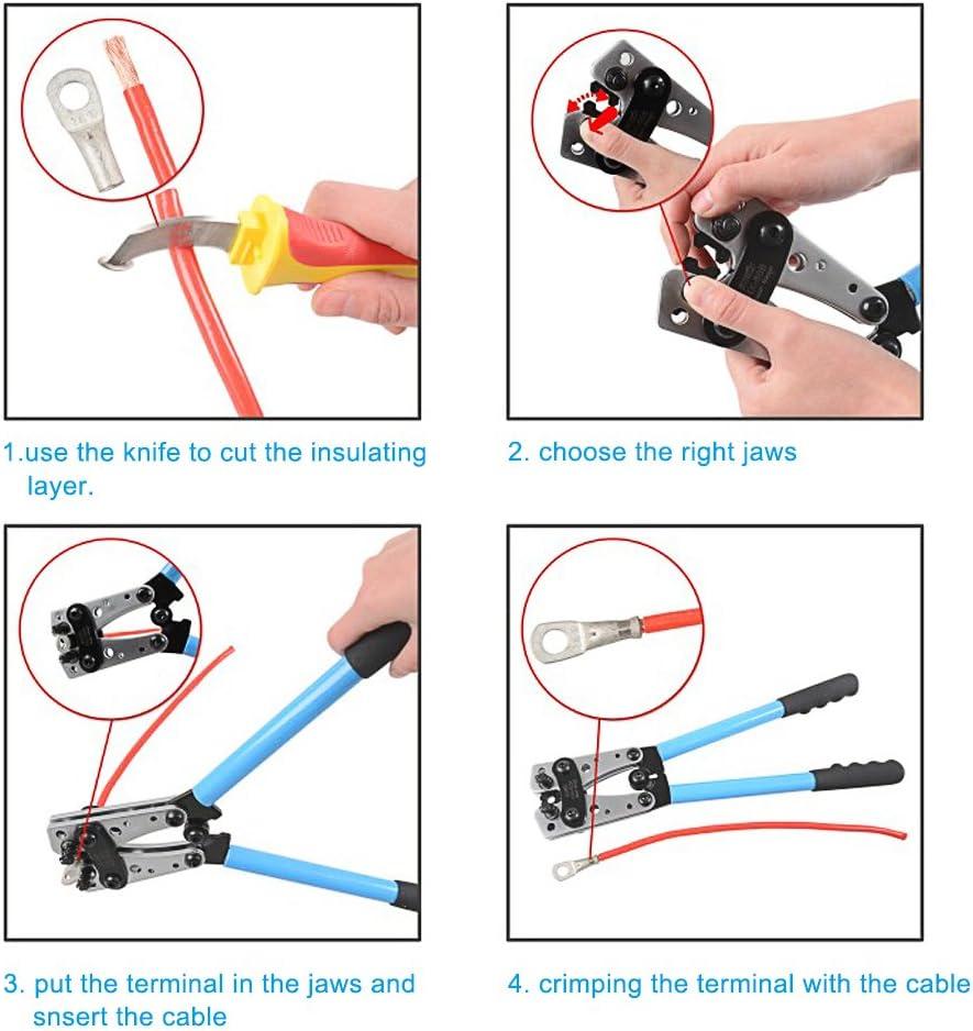 Signstek Pince /à sertir de borne de sertissage de c/âble 6-50mm/² Cu//Al Terminal Pince /à sertir /électricien /à cliquet
