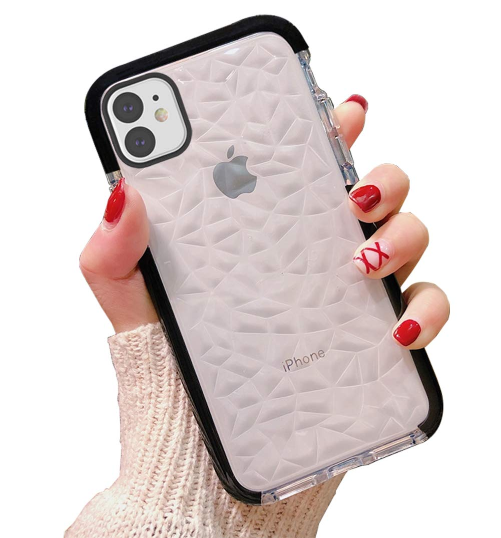 Black Crystal Clear Slim Diamond Pattern Soft TPU Anti-Scratch Shockproof Protective Cover for Women Girls Men Boys with iPhone 11 6.1 inch KUMTZO Compatible iPhone 11 Case