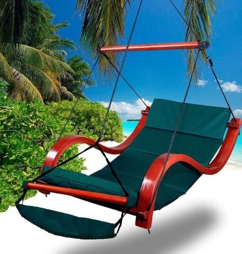 Cielo – Blue New Deluxe Patio Hanging Air Padded Swing Lounger Hammock Chair – Green
