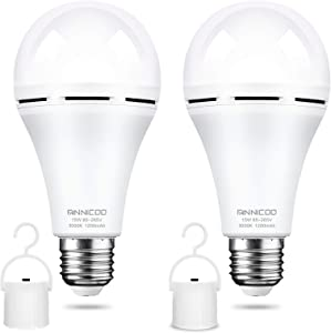LED Emergency Light Bulb(Pack of 2), Battery Backup, Warm 3000K White 1200mAh with Hook Switch,E26/27 Base 15W Equivalent 80W LED Light Bulbs,Widely Used in Home, Camp, Hiking