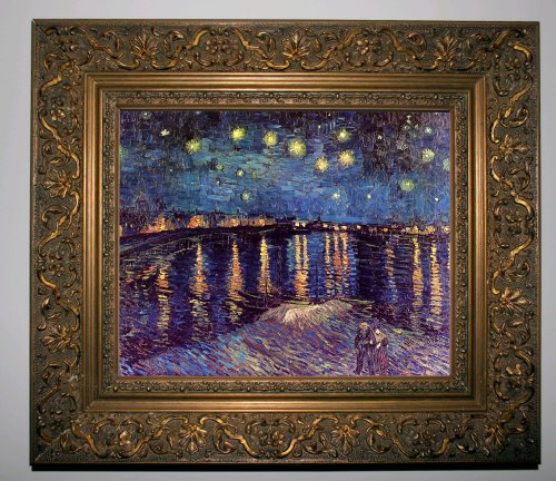 Van Gogh Starry Night Over The Rhone - Gold Framed Canvas Print