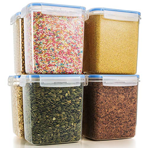 Food Storage Containers Airtight Containers, Estmoon Cereal & Dry Plastic Containers for Cereal Flour Rice Snacks Sugar, Leak Proof with Locking Lids - Set of 8 (54.66 oz / 1.6L) -