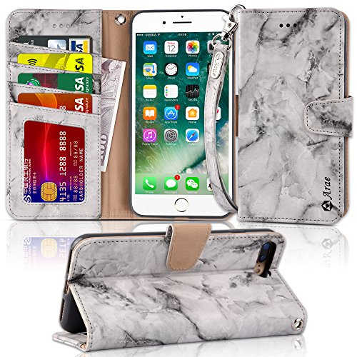 Arae Case for iPhone 7 Plus/iPhone 8 Plus, Premium PU Leather Wallet Case with Kickstand and Flip Cover for iPhone 7 Plus (2016) / iPhone 8 Plus (2017) 5.5 (not for iPhone 7/8) - Marble Gray