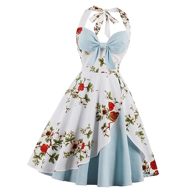 Prettyia Vestido de Mujeres Noche Plisado Halter Pinup Graduación Estilo Midi Vintage Diseño Ocasión Especial -