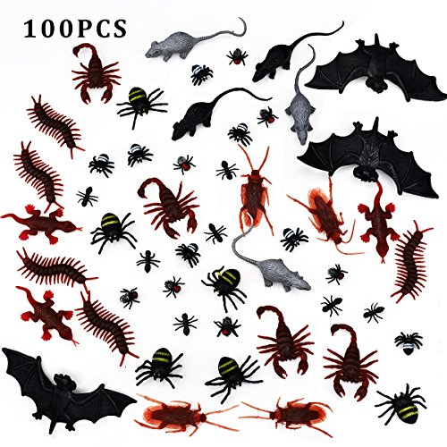XONOR 100 Pieces Plastic Realistic Bugs - Fake Cockroaches, Spiders, Scorpions, Ants, Geckoes, Centipedes, Mice, Flies, Bats for Halloween Party Favors and (Halloween Mouse)