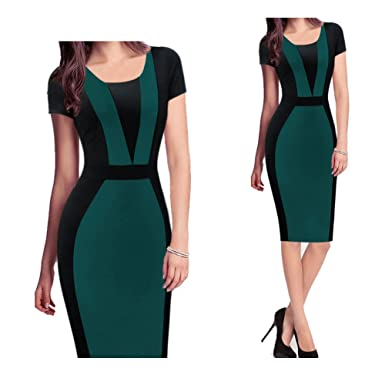 Women Elegant Patchwork Tunic Wear To Work Business Formal Sheath