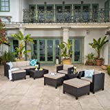Patagonia Outdoor 10 Piece Wicker Sofa Collection w/Water Resistant Cushions (Dark Brown/Beige)