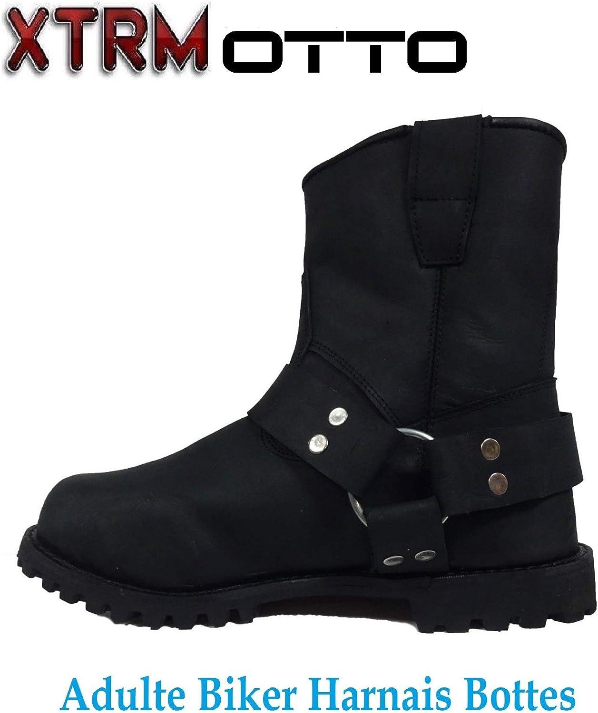 XTRM Moto Bottes Courtes Otto Hommes Femmes Touring Cruiser Style Harley Urbain Sports Harnais Cheville Chaussures en Cuir