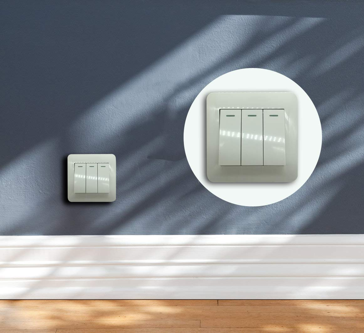 Supermait Wall Switch Light Switch Three Button 3 Gang 1 Way Control On//Off Switches for Lamps Fans Appliances
