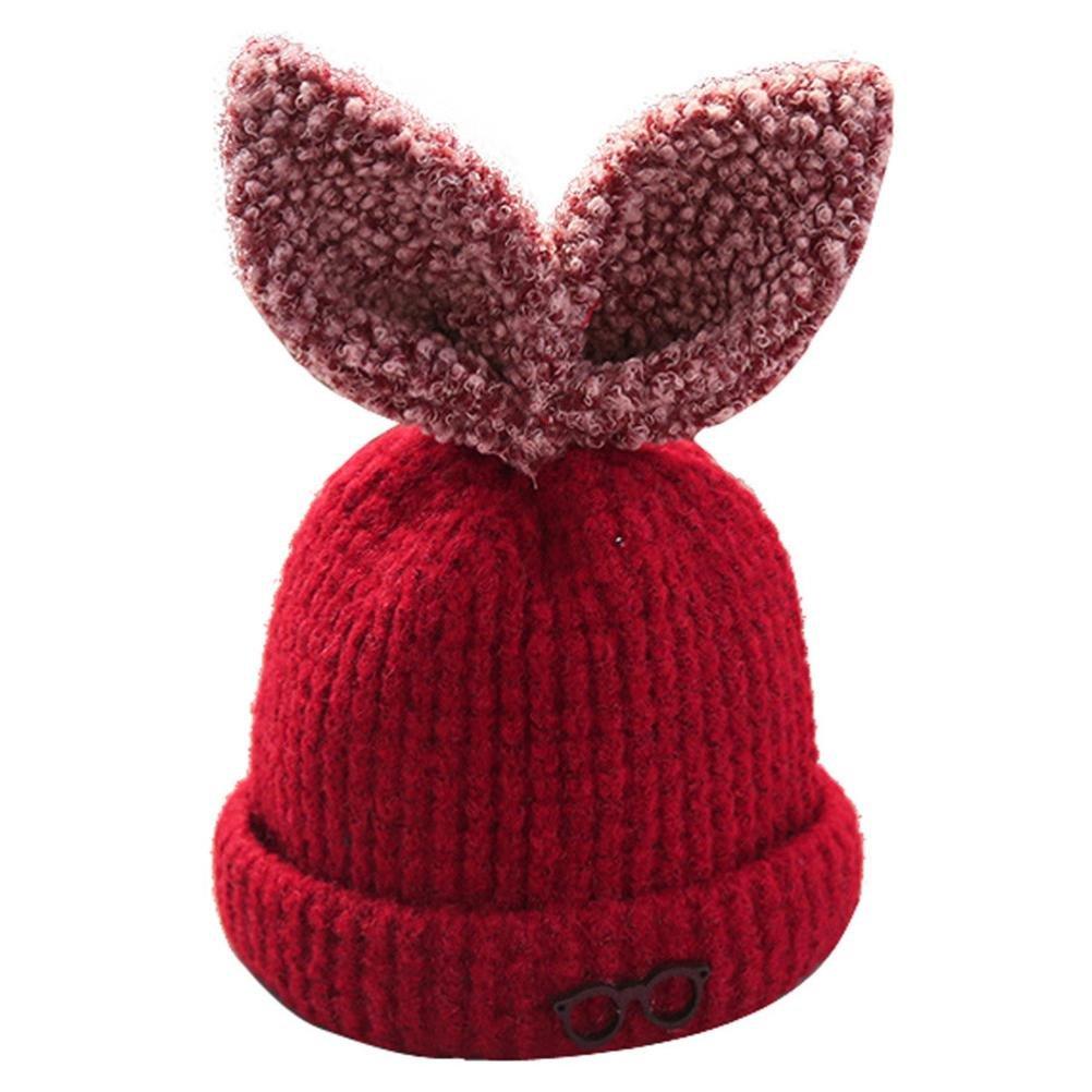 6ae849488960 Smileq mignon bébé capuchon garçons filles Flocon de neige Bonnet d oreille  de lapin Chapeau enfant à tricoter Chapeaux