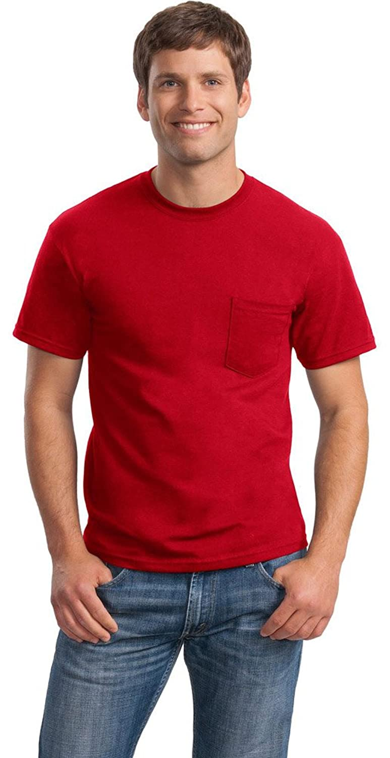 Gildan Mens DryBlend 50 Cotton/50 Poly Pocket T-Shirt, Large, Red