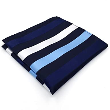 Shlax&Wing Rayas Azul Plateado Seda Pañuelo De Bolsillo Mens ...