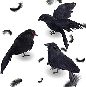 PAMASE 3 Pack Halloween Realistic Handmade Crows- Scary Black Feathered Crow Fly and Stand Halloween Decor Ravens Birds for Halloween Party Prop and Indoor Outdoors Decoration