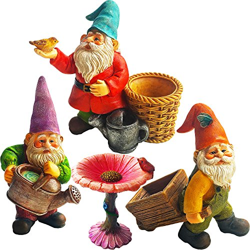 Mood Lab Miniature Gardening Gnomes Set of 4 pcs - 3,1-3,7 Height Gnome Figurines & Accessories - Kit for Outdoor or House Decor
