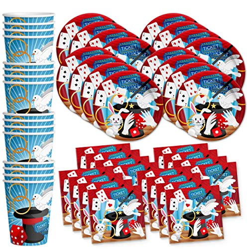 - Magic Show Birthday Party Supplies Set Plates Napkins Cups Tableware Kit for 16