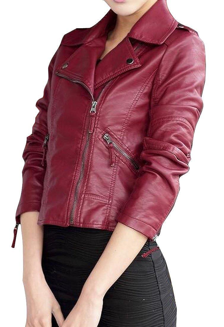 Suncolor8 Womens Oblique Zipper Faux-Leather PU Moto Jacket Outwear Coat