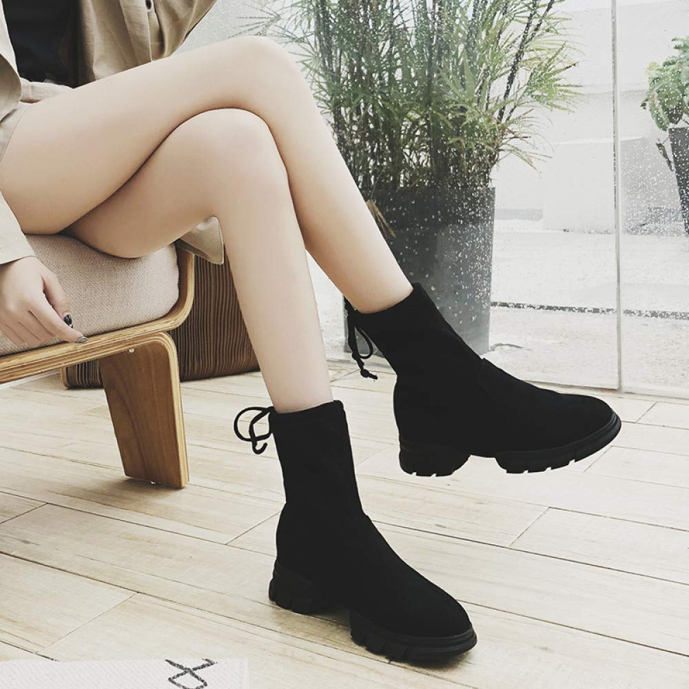 Qingchunhuangtang Martin Boots Womens Thick-Soled Autumn and Winter New Students Wild Socks Socks Boots Womens Booties