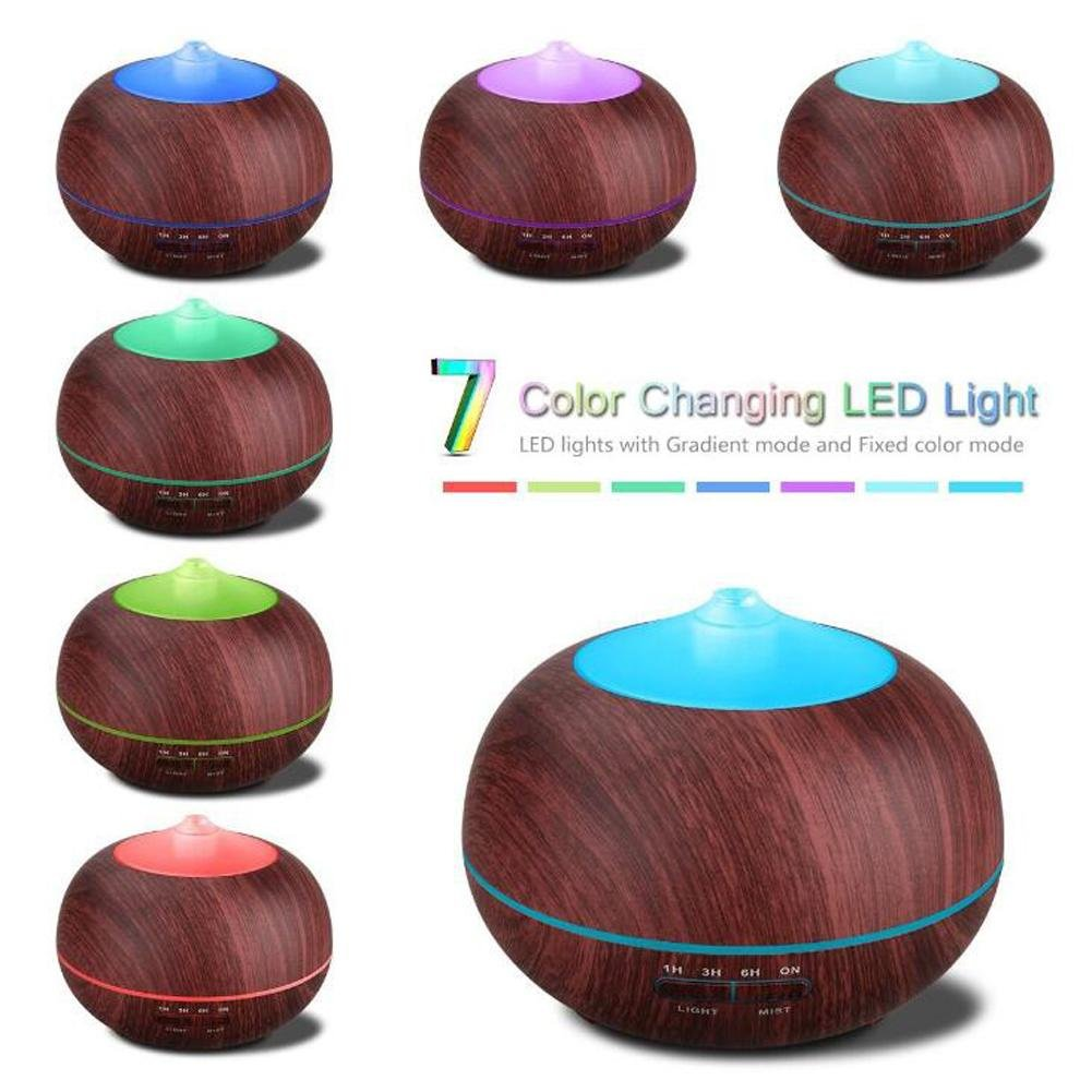 Essential Oil Diffuser BS-103 Ultrasonic Mute Humidifier Aromatherapy Indoor Air Purification LED Color Night Light No Water Automatic Shutdown Timer 400ml , Wood grain by BIGSELLER (Image #2)