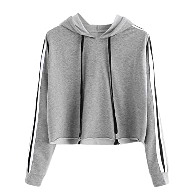 Mlide Drawstring Hooded Striped Sweatshirt,Womens Solid Long Sleeve Jumper Short Pullover Tops Blouse(