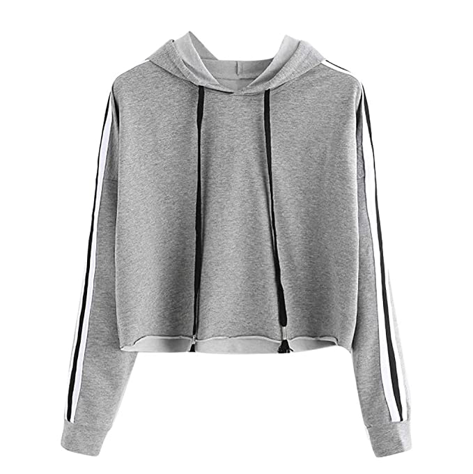 d4f3e6a17ada8 Short Hoodies, Auwer Womens Striped Long Sleeve Hoodie Sweatshirt Jumper  Hooded Pullover Crop Top