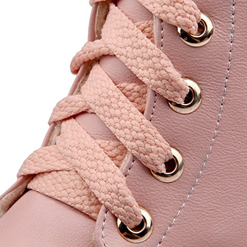 Boots Women's Heels AgooLar Pink Low PU PU Closed Round up Toe Lace v4gqH