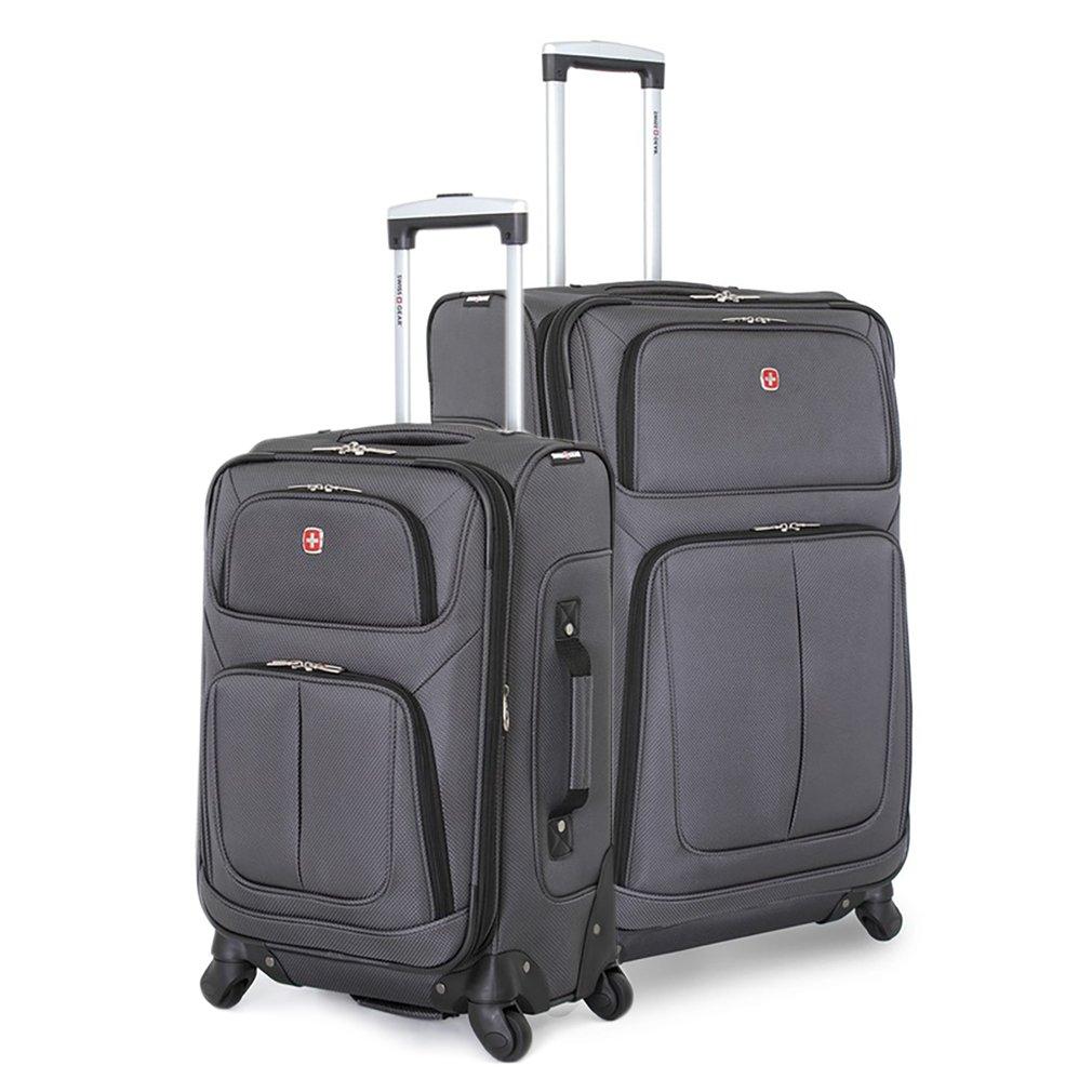 SwissGear 2 PC Spinner Wheel Black Suitcase Set - Softshell & Lightweight (Grey)