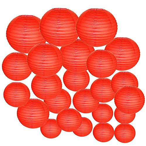 Just-Artifacts-Decorative-Round-Chinese-Paper-Lanterns-24pcs-Assorted-Sizes-Color-Red