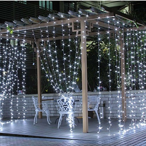 Teeke Curtain Lights, Window Icicle Lights 304 Led 9.8ft*9.8ft Christmas Fairy Strings Lights for Wedding,Valentine's Day, Party, Holiday, (Wedding Wall Drapes)