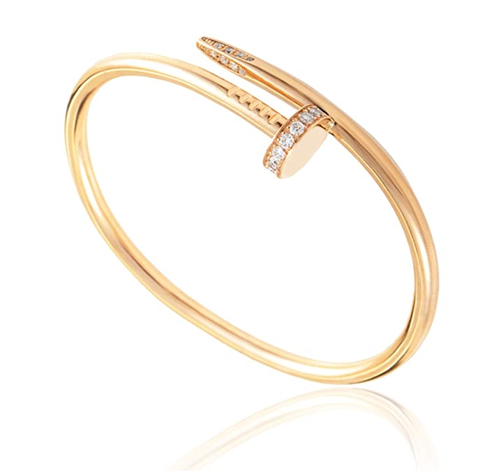 L&H Jewelry - Women's Stainless Steel Nail Love Bangle Bracelet - Rose Gold color - Free Gift Box included
