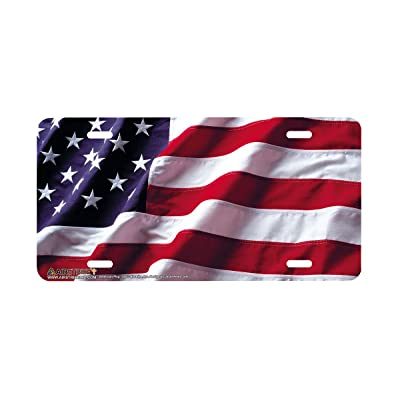 Airstrike American Flag License Plate Patriotic Front License Plate Made in USA (Made of Metal)-235: Automotive